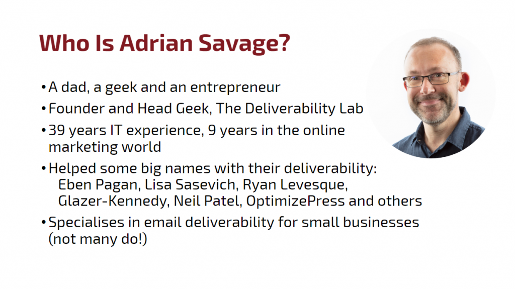 Email deliverability expert Adrian Savage