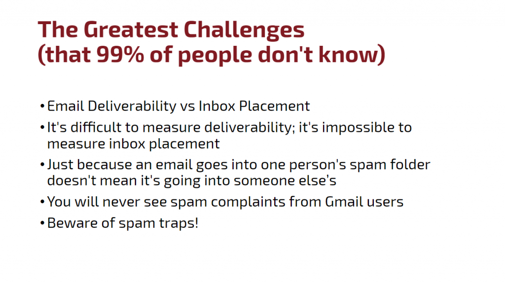 Email deliverability challenges