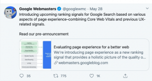 tweet from google webmasters about page speed as a ranking signal
